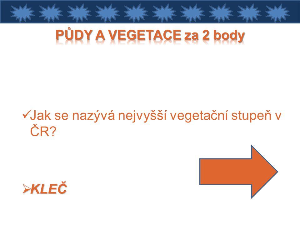 PŮDY A VEGETACE za 2 body Jak se nazývá nejvyšší vegetační stupeň v ČR KLEČ