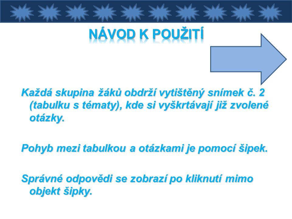 NÁVOD K POUŽITÍ Každá skupina žáků obdrží vytištěný snímek č. 2 (tabulku s tématy), kde si vyškrtávají již zvolené otázky.