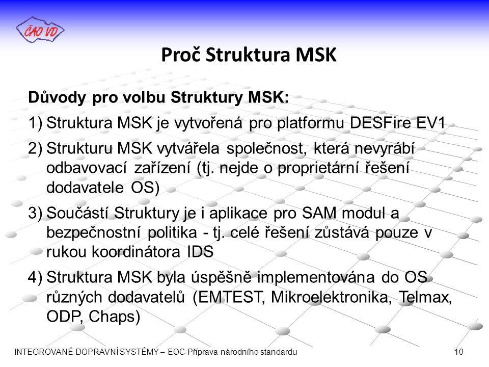 Proč Struktura MSK Důvody pro volbu Struktury MSK: