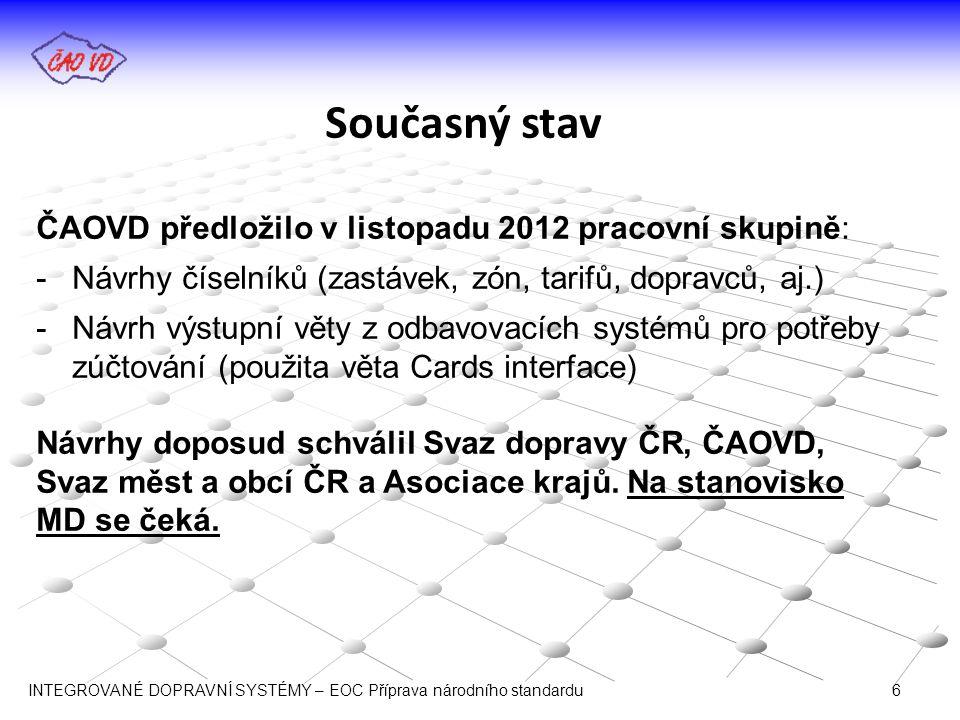 Současný stav ČAOVD předložilo v listopadu 2012 pracovní skupině: