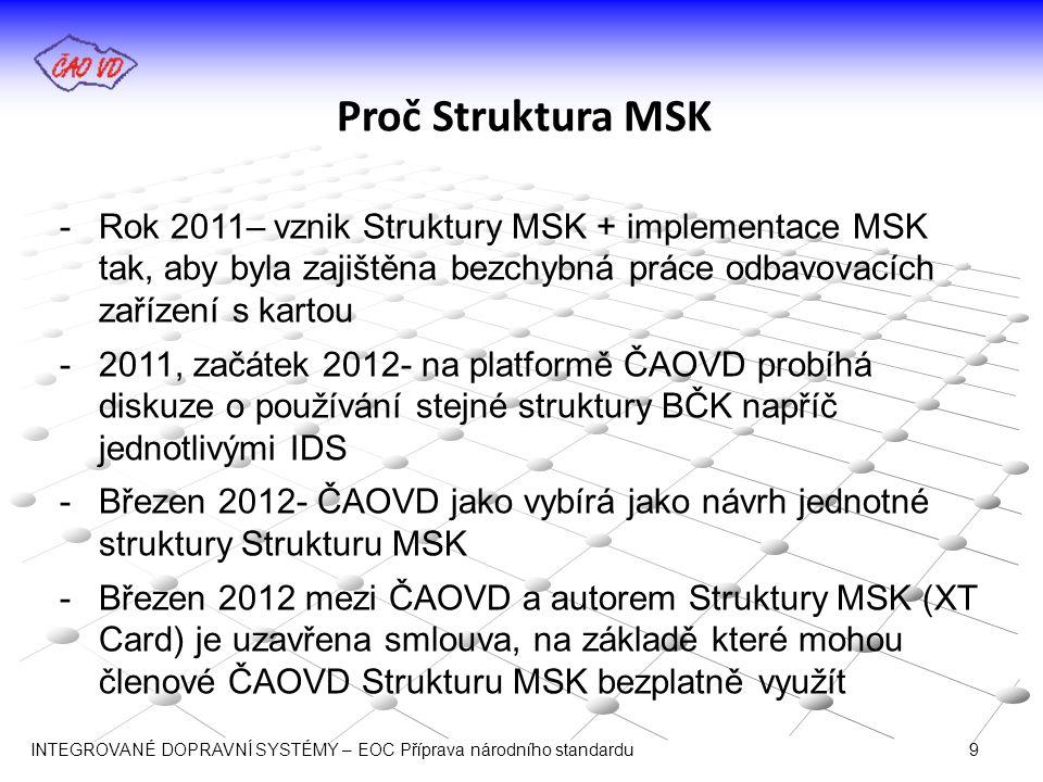 Proč Struktura MSK Rok 2011– vznik Struktury MSK + implementace MSK tak, aby byla zajištěna bezchybná práce odbavovacích zařízení s kartou.