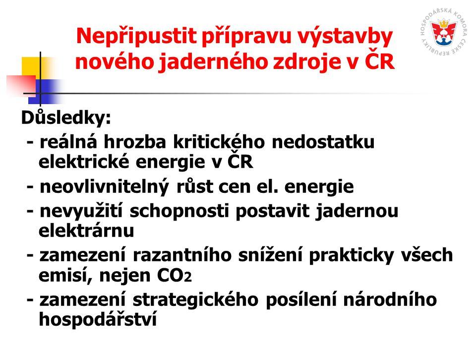 Nepřipustit přípravu výstavby nového jaderného zdroje v ČR