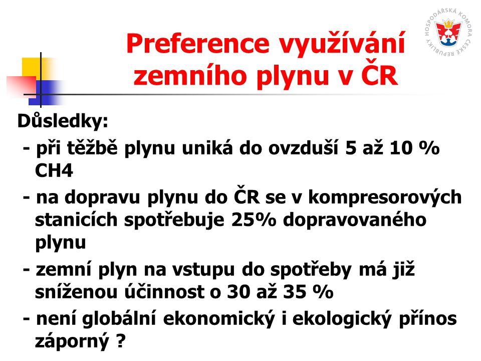 Preference využívání zemního plynu v ČR