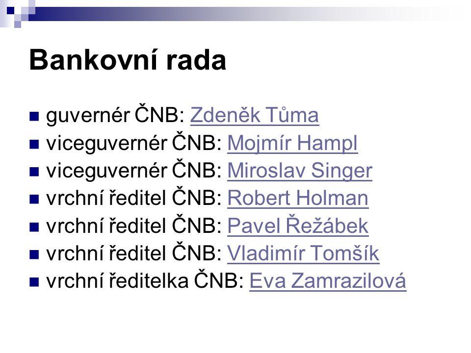 Bankovní rada guvernér ČNB: Zdeněk Tůma viceguvernér ČNB: Mojmír Hampl