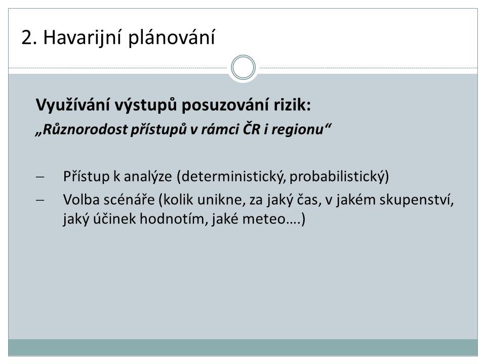 2. Havarijní plánování Využívání výstupů posuzování rizik: