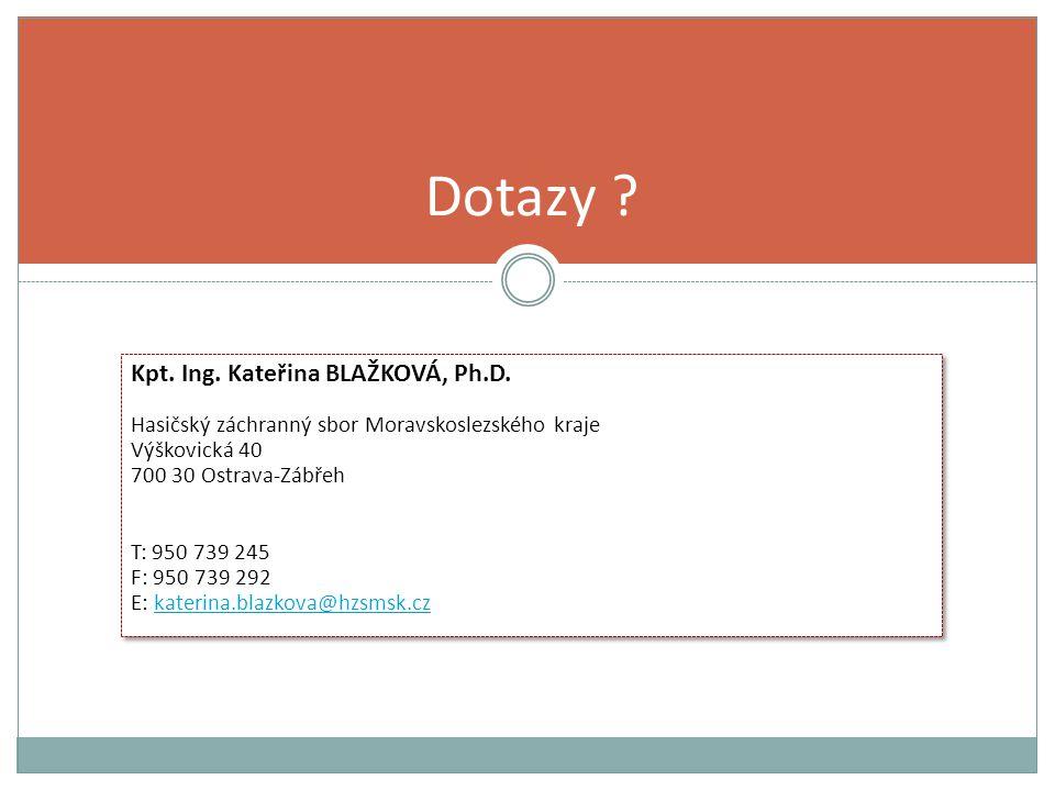 Dotazy Kpt. Ing. Kateřina BLAŽKOVÁ, Ph.D.