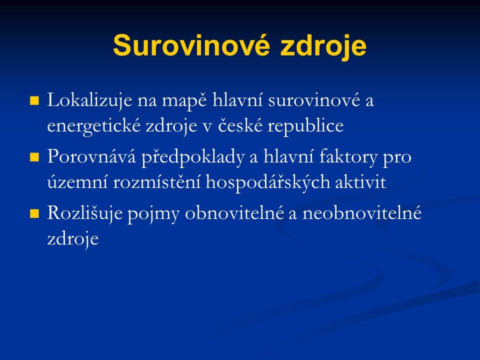 Surovinové zdroje Lokalizuje na mapě hlavní surovinové a energetické zdroje v české republice.
