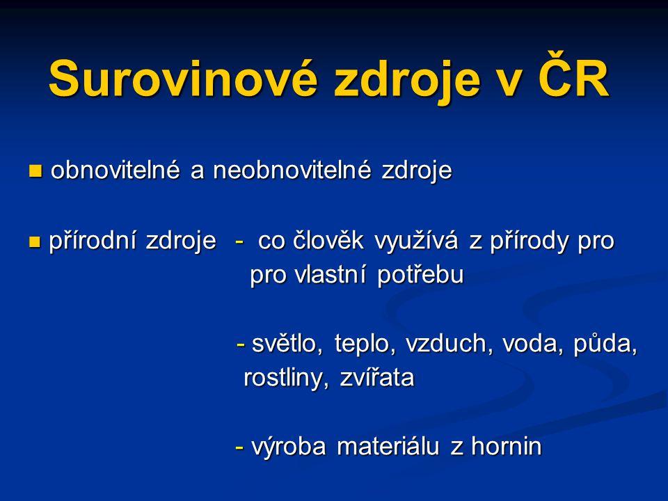 Surovinové zdroje v ČR obnovitelné a neobnovitelné zdroje