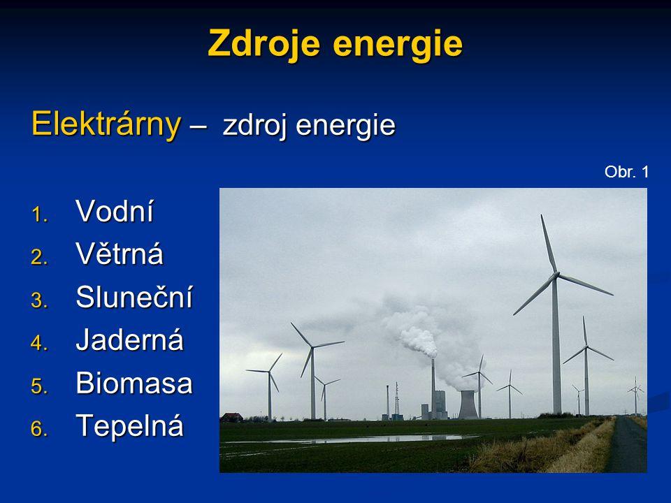 Zdroje energie Elektrárny – zdroj energie Vodní Větrná Sluneční