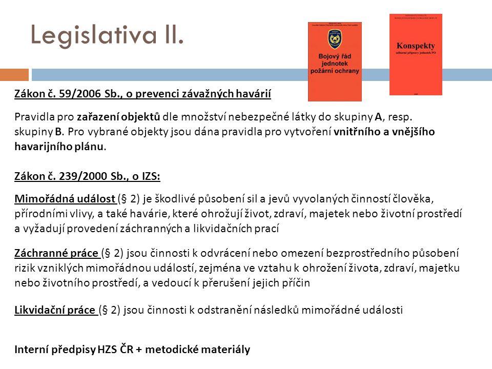 Legislativa II. Zákon č. 59/2006 Sb., o prevenci závažných havárií