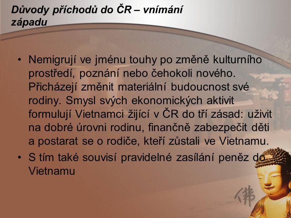 Důvody příchodů do ČR – vnímání západu