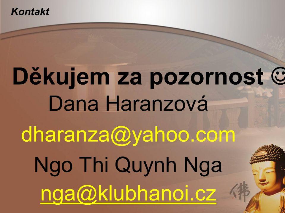 Děkujem za pozornost  Dana Haranzová dharanza@yahoo.com