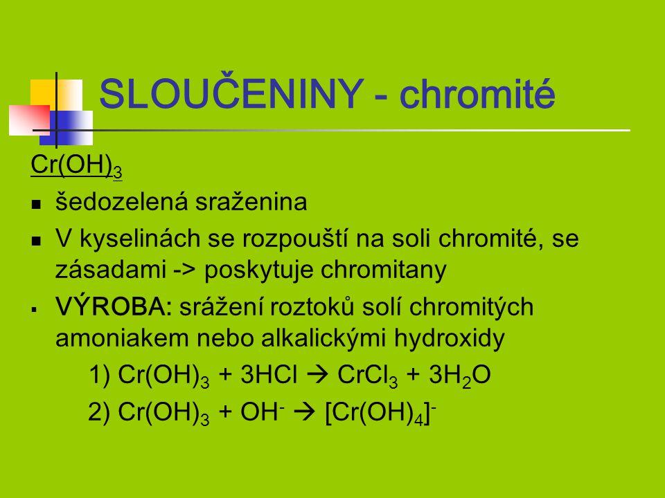 SLOUČENINY - chromité Cr(OH)3 šedozelená sraženina