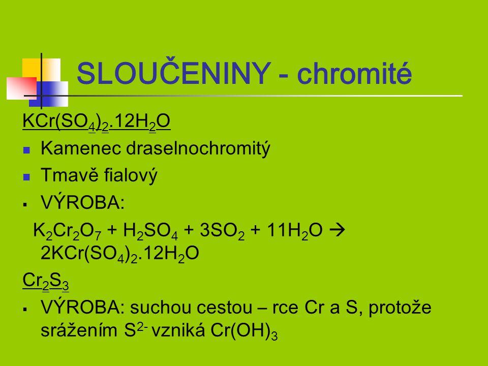 SLOUČENINY - chromité KCr(SO4)2.12H2O Kamenec draselnochromitý