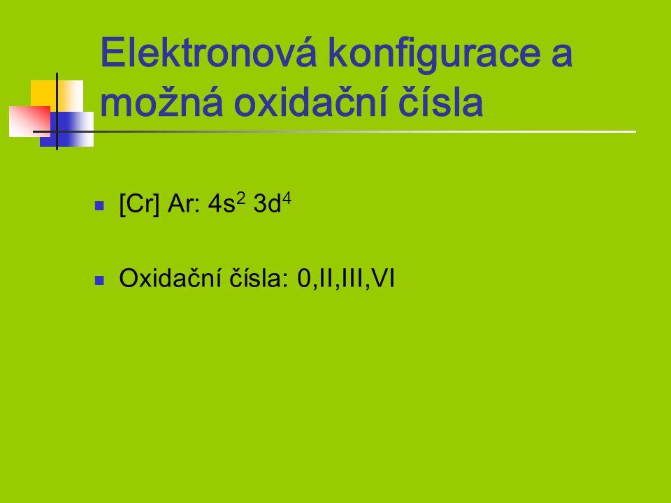 Elektronová konfigurace a možná oxidační čísla