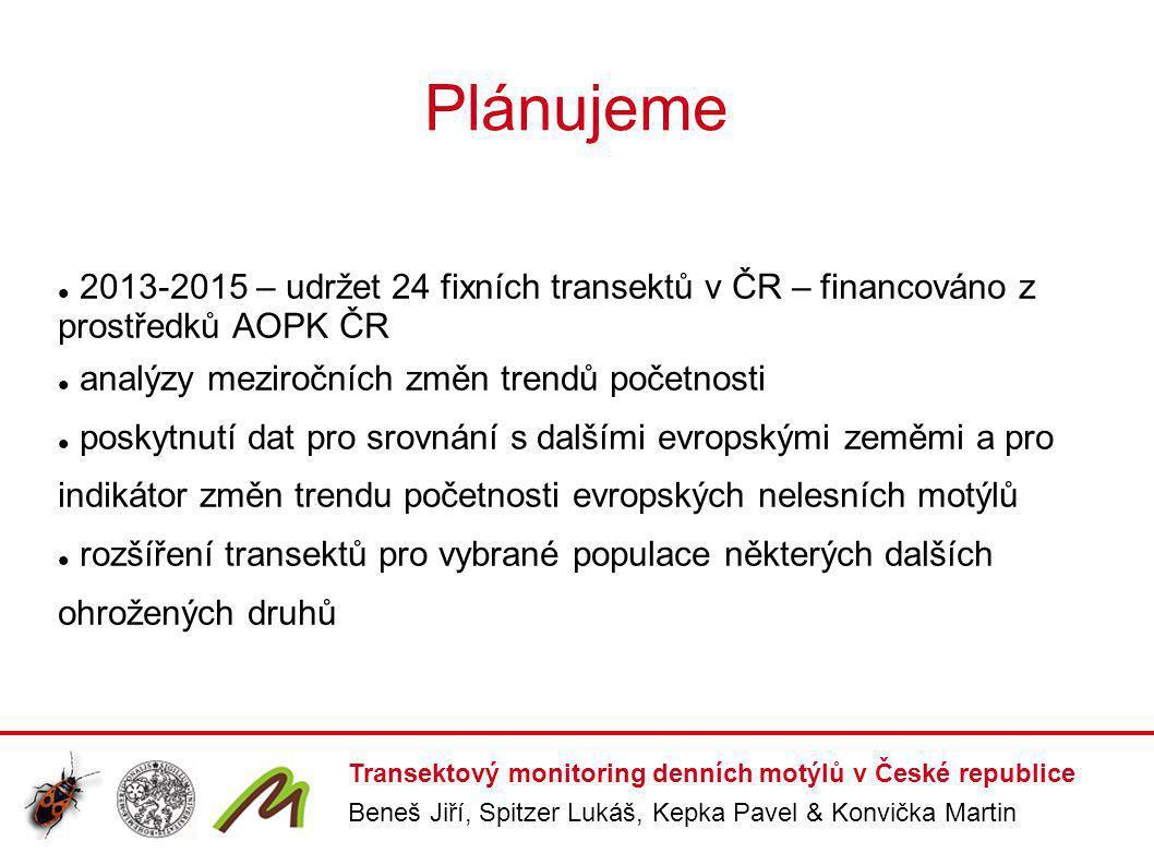 Plánujeme 2013-2015 – udržet 24 fixních transektů v ČR – financováno z prostředků AOPK ČR. analýzy meziročních změn trendů početnosti.