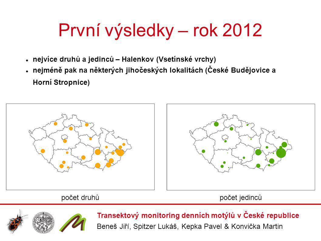 První výsledky – rok 2012 nejvíce druhů a jedinců – Halenkov (Vsetínské vrchy)