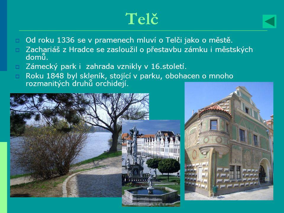 Telč Od roku 1336 se v pramenech mluví o Telči jako o městě.