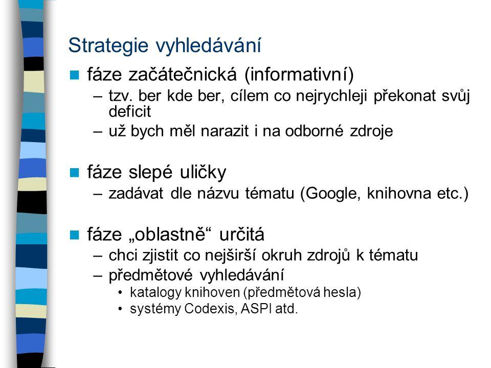 Strategie vyhledávání