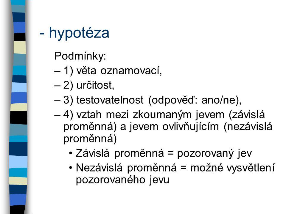 - hypotéza Podmínky: 1) věta oznamovací, 2) určitost,