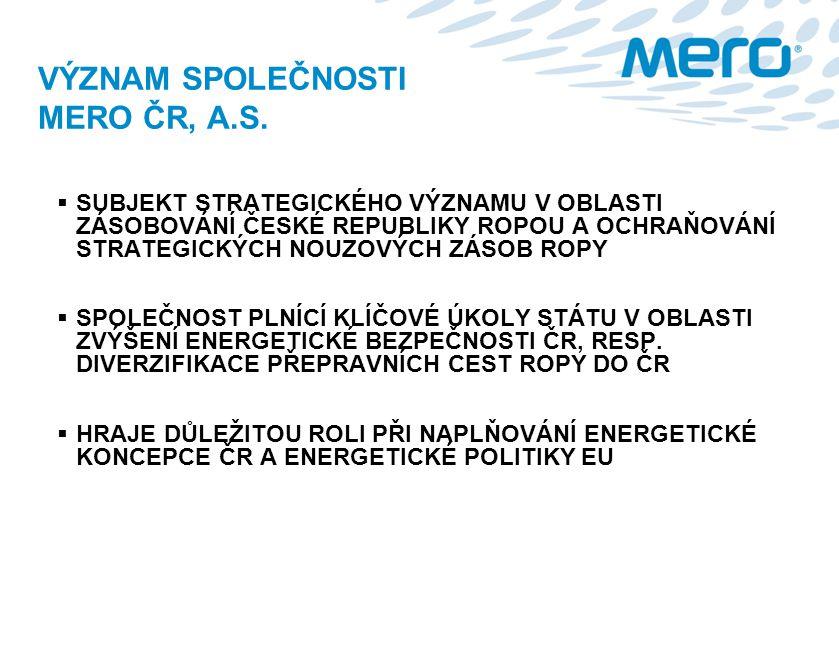 VÝZNAM SPOLEČNOSTI MERO ČR, A.S.
