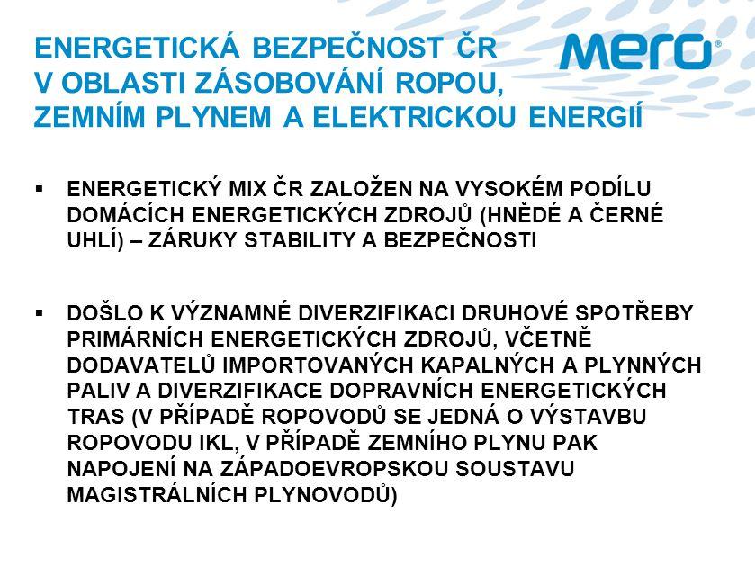 ENERGETICKÁ BEZPEČNOST ČR V OBLASTI ZÁSOBOVÁNÍ ROPOU, ZEMNÍM PLYNEM A ELEKTRICKOU ENERGIÍ