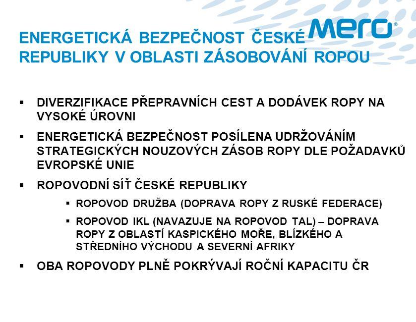 ENERGETICKÁ BEZPEČNOST ČESKÉ REPUBLIKY V OBLASTI ZÁSOBOVÁNÍ ROPOU