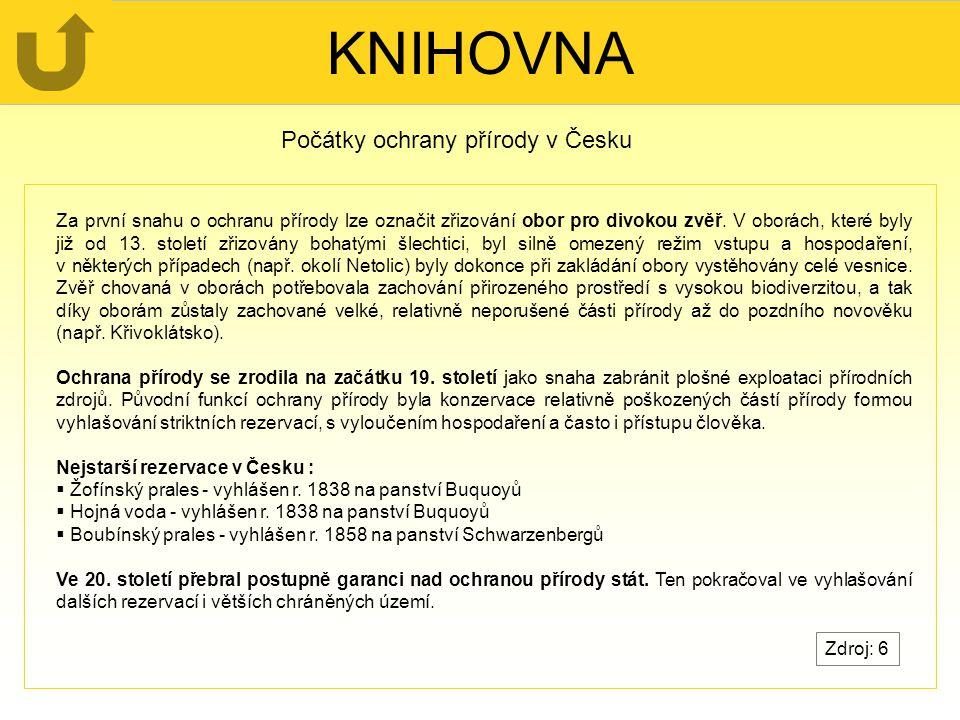 KNIHOVNA Počátky ochrany přírody v Česku