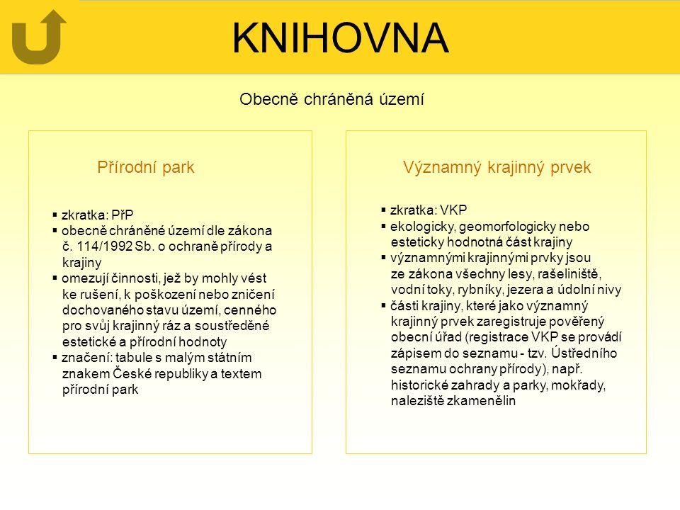KNIHOVNA Obecně chráněná území Přírodní park Významný krajinný prvek