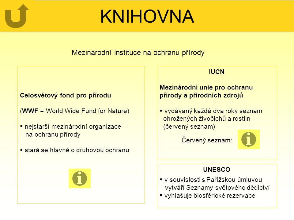 KNIHOVNA Mezinárodní instituce na ochranu přírody