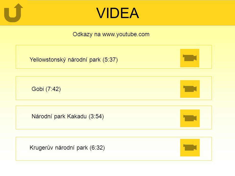 VIDEA Odkazy na www.youtube.com Yellowstonský národní park (5:37)
