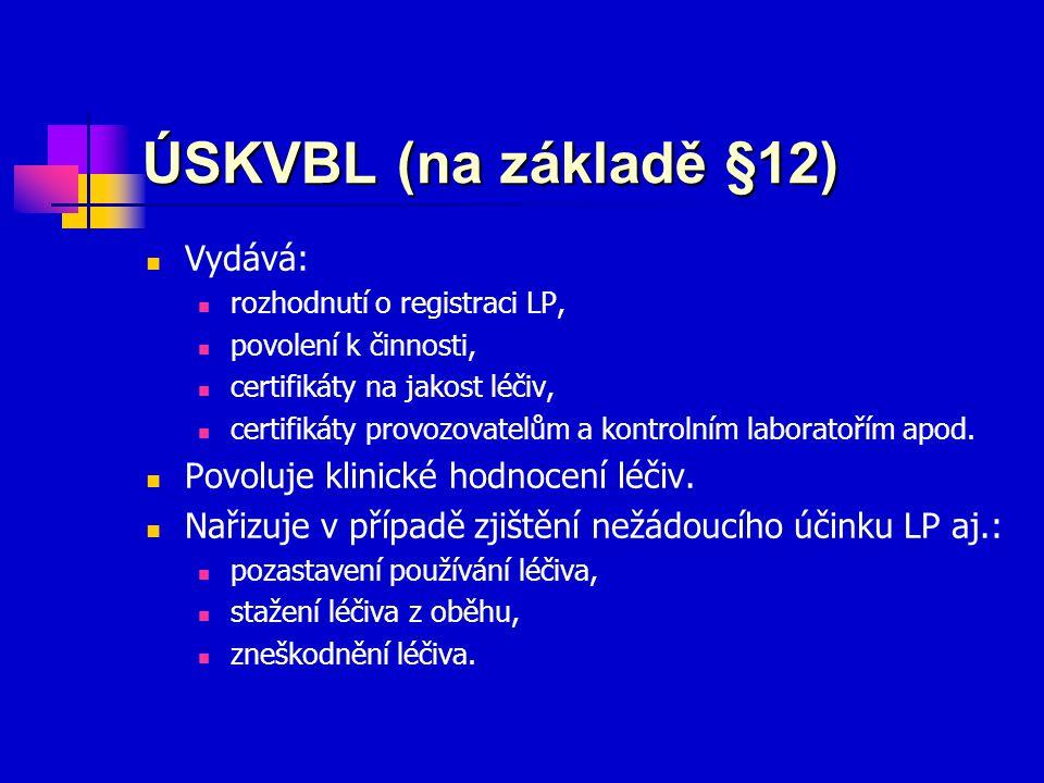 ÚSKVBL (na základě §12) Vydává: Povoluje klinické hodnocení léčiv.