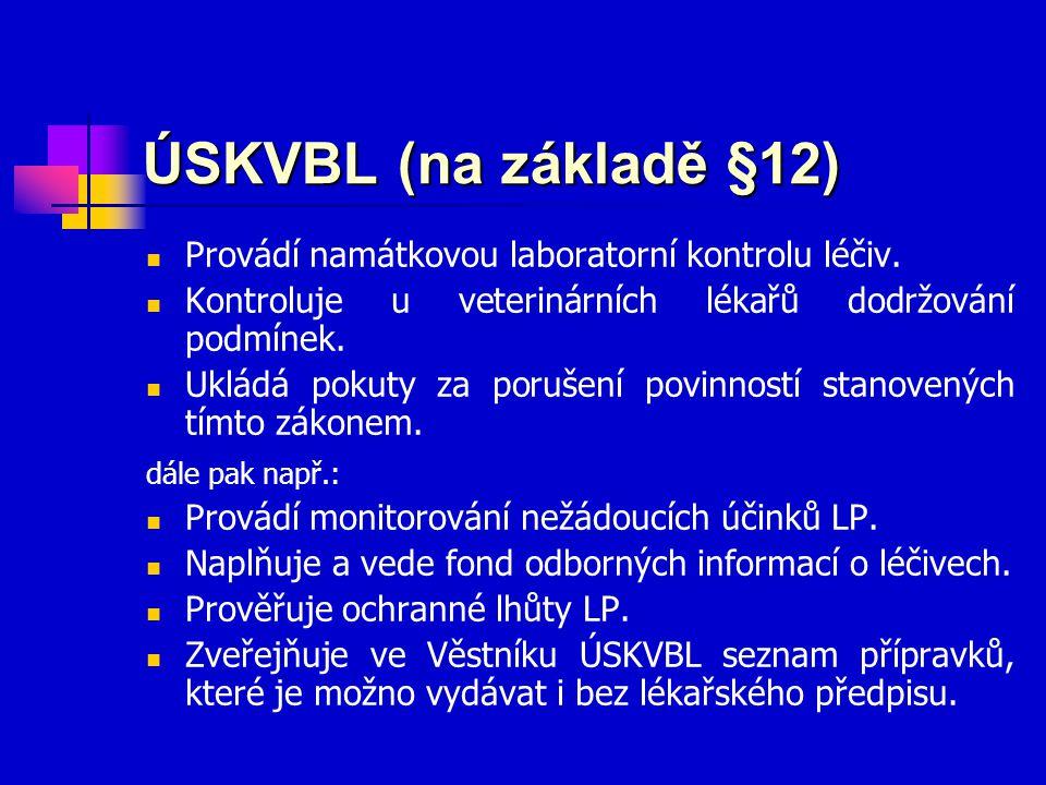 ÚSKVBL (na základě §12) Provádí namátkovou laboratorní kontrolu léčiv.