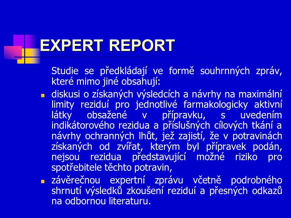 EXPERT REPORT Studie se předkládají ve formě souhrnných zpráv, které mimo jiné obsahují: