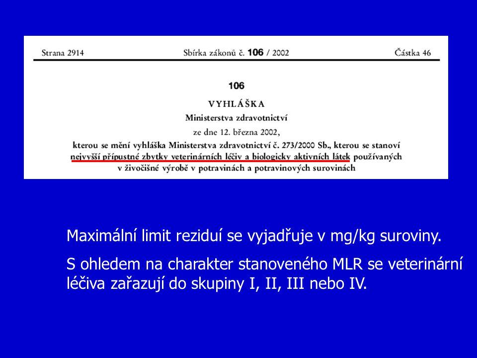 Maximální limit reziduí se vyjadřuje v mg/kg suroviny.