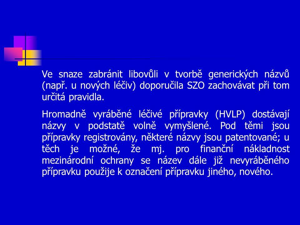 Ve snaze zabránit libovůli v tvorbě generických názvů (např