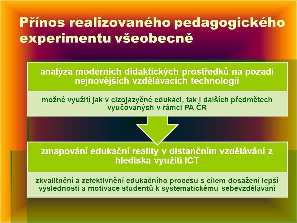 Přínos realizovaného pedagogického experimentu všeobecně