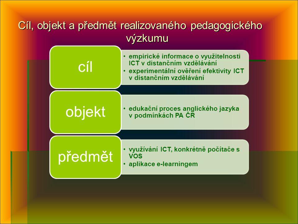 Cíl, objekt a předmět realizovaného pedagogického výzkumu
