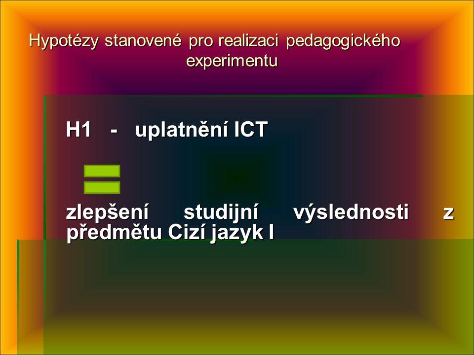 Hypotézy stanovené pro realizaci pedagogického experimentu