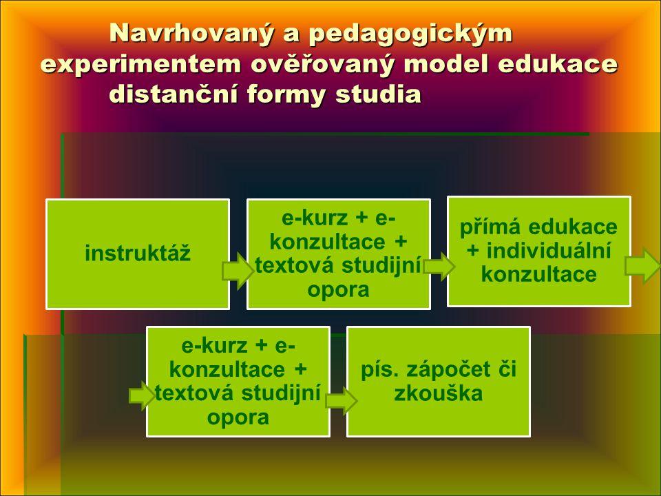 Navrhovaný a pedagogickým experimentem ověřovaný model edukace distanční formy studia