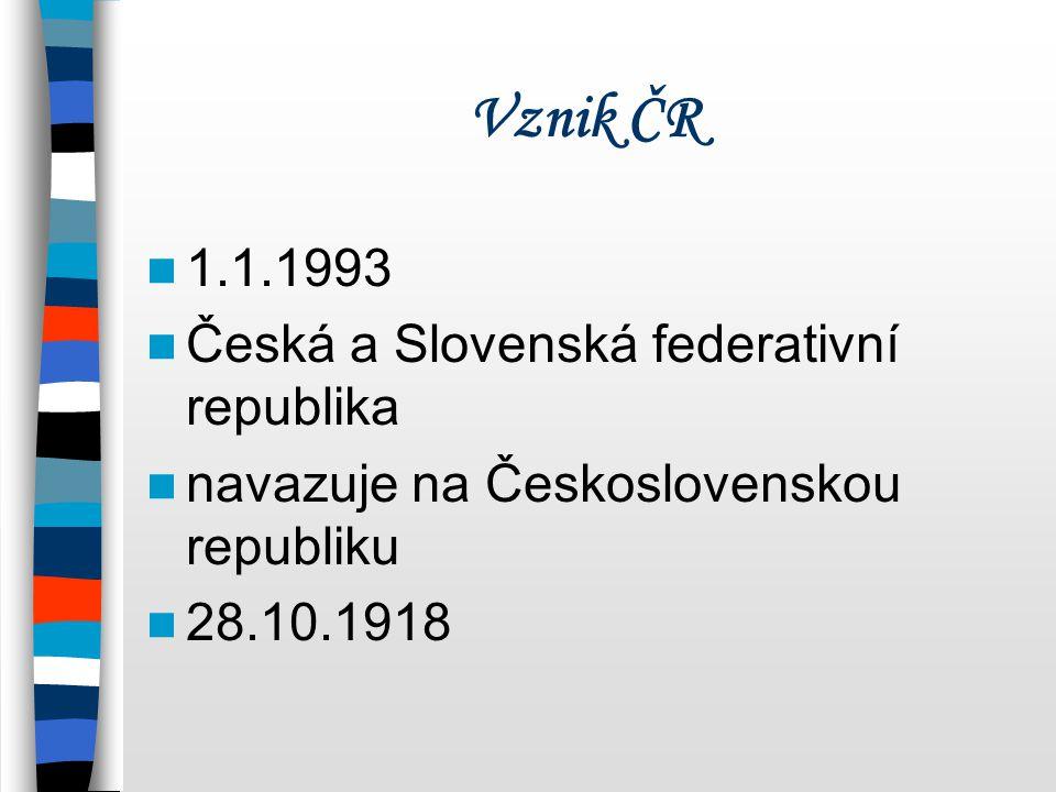 Vznik ČR 1.1.1993 Česká a Slovenská federativní republika