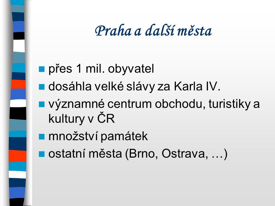 Praha a další města přes 1 mil. obyvatel