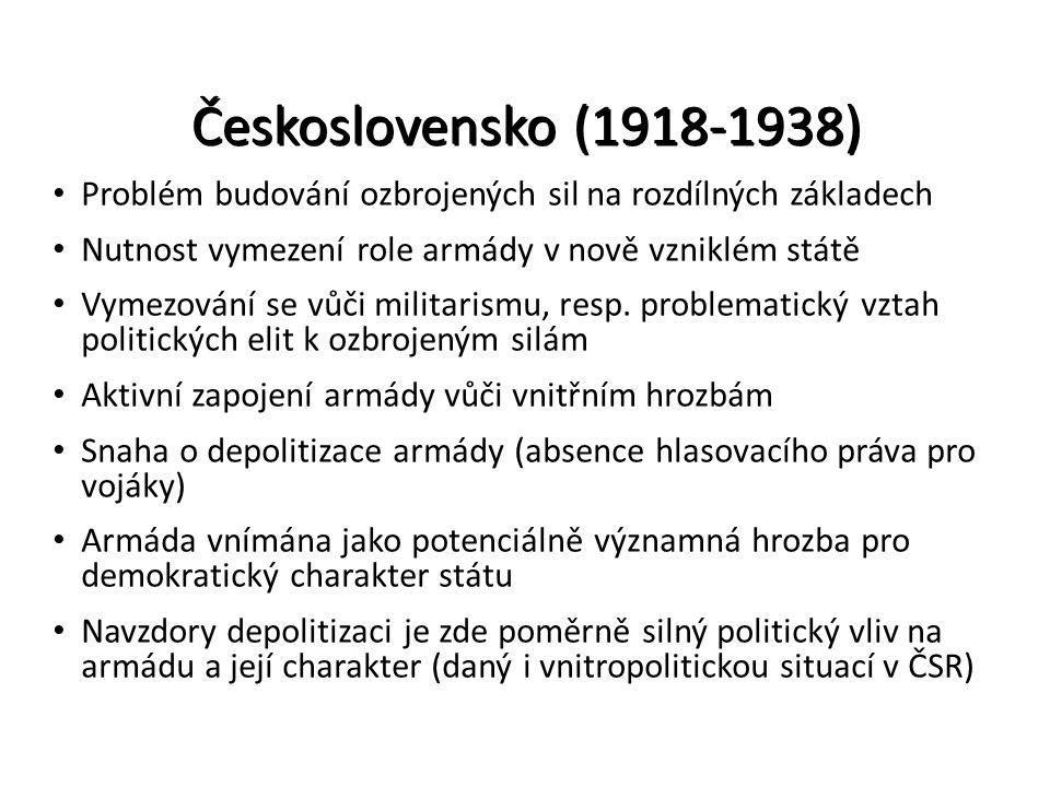 Československo (1918-1938) Problém budování ozbrojených sil na rozdílných základech. Nutnost vymezení role armády v nově vzniklém státě.