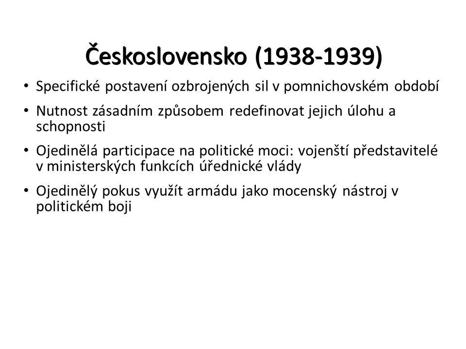 Československo (1938-1939) Specifické postavení ozbrojených sil v pomnichovském období.