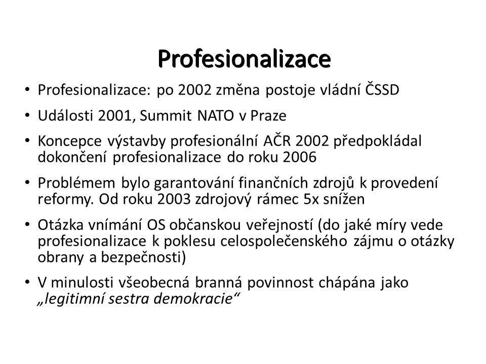 Profesionalizace Profesionalizace: po 2002 změna postoje vládní ČSSD