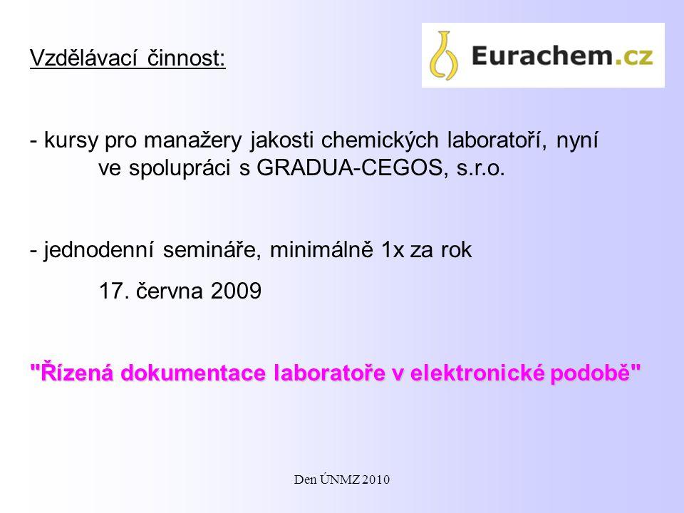jednodenní semináře, minimálně 1x za rok 17. června 2009
