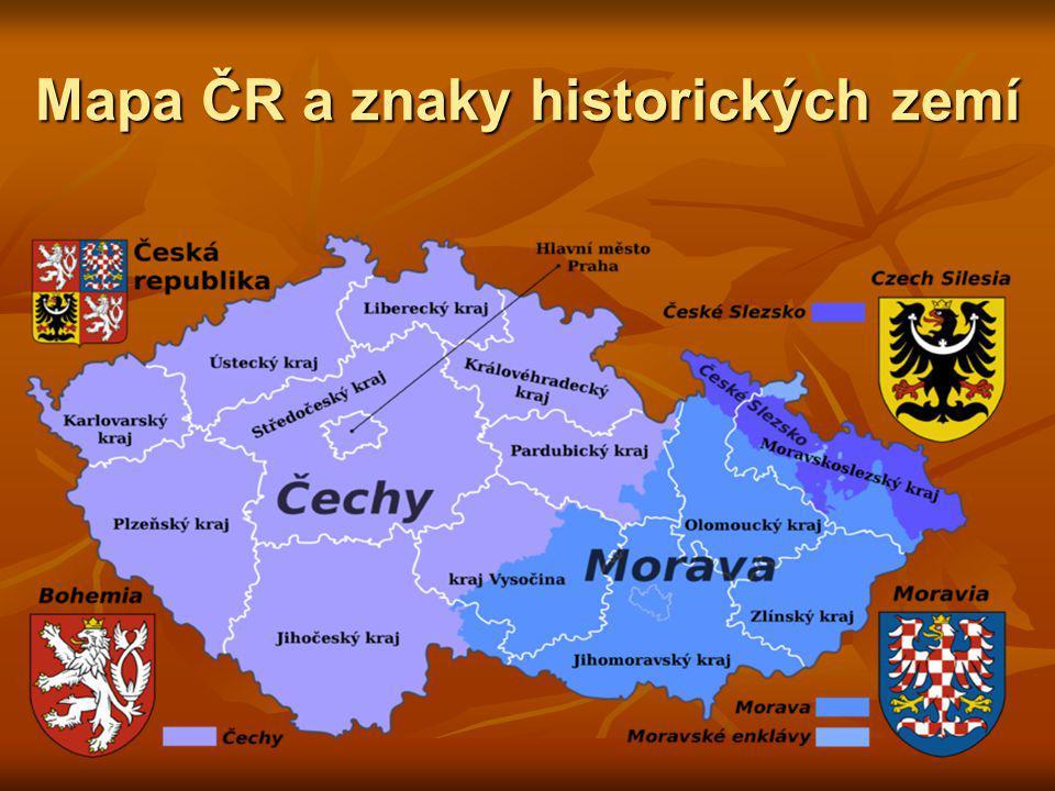 Mapa ČR a znaky historických zemí