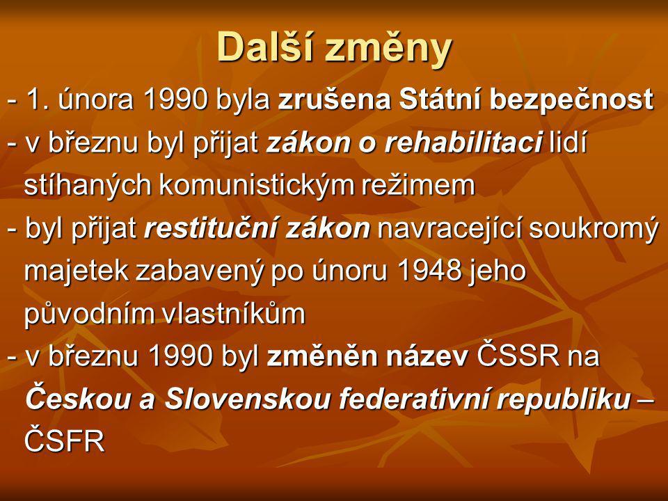 Další změny - 1. února 1990 byla zrušena Státní bezpečnost