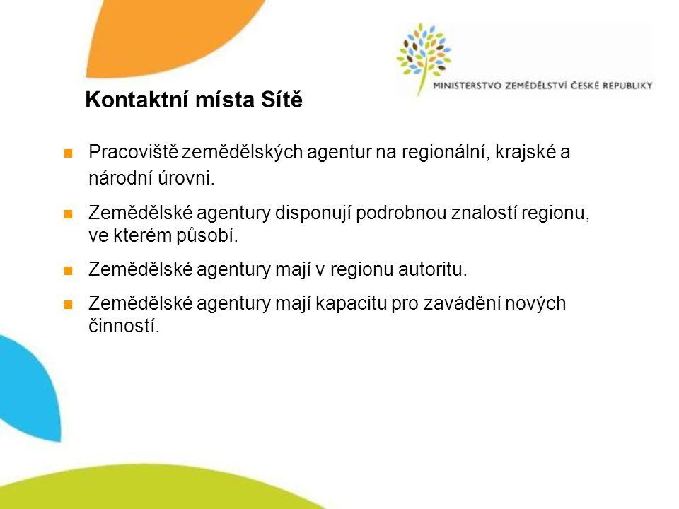 Kontaktní místa Sítě Pracoviště zemědělských agentur na regionální, krajské a národní úrovni.