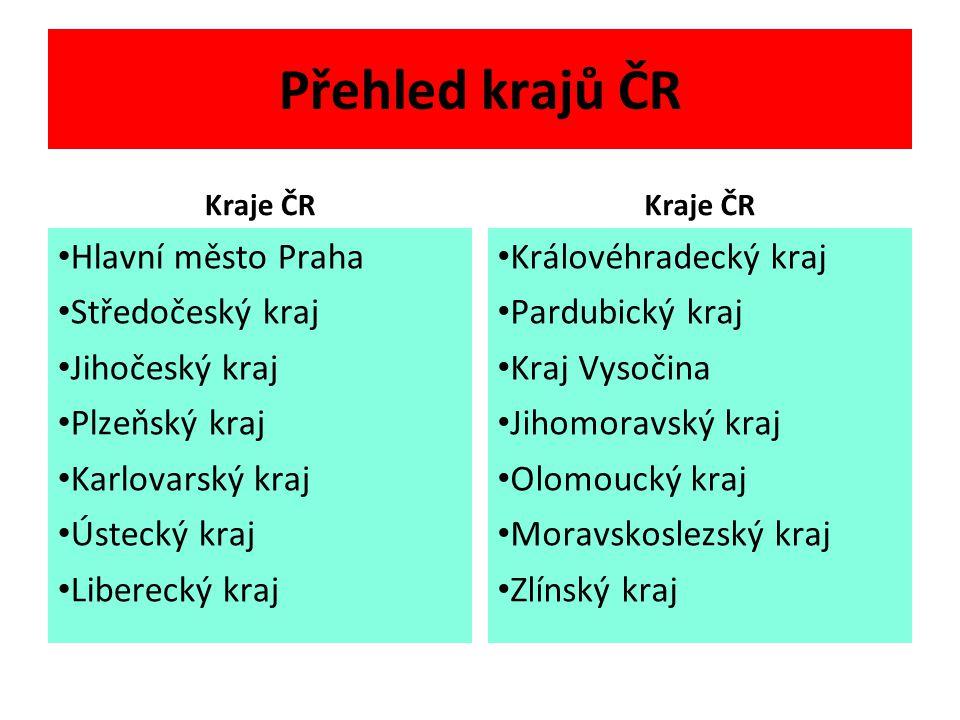 Přehled krajů ČR Hlavní město Praha Středočeský kraj Jihočeský kraj